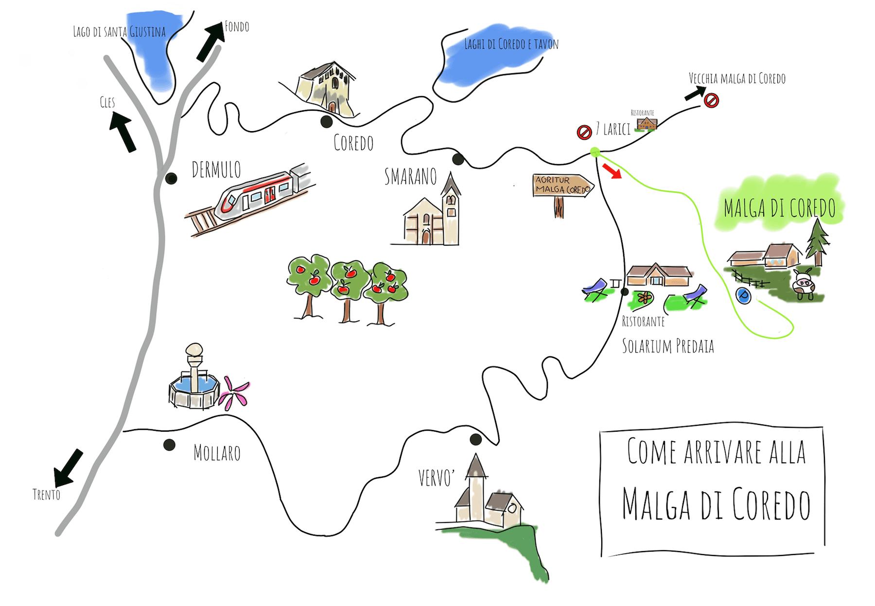 come-arrivare alla malga di coredo-mappa